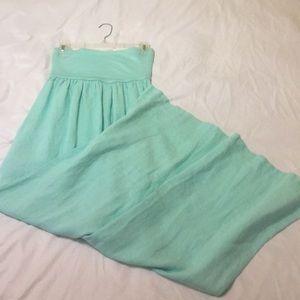 Strapless linen maxi dress